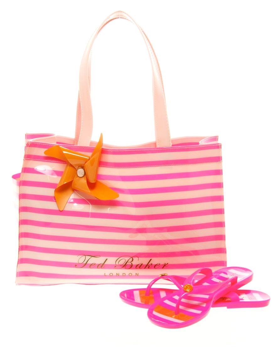 06fa05bf2 Lyst ted baker telley stripe shopper with flip flops in pink jpg 870x1110 Flip  flop bags