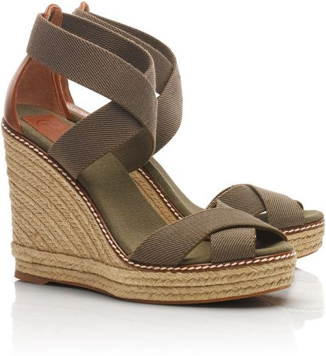 Tory Burch Adonis Wedge Espadrille In Green Olive Almond