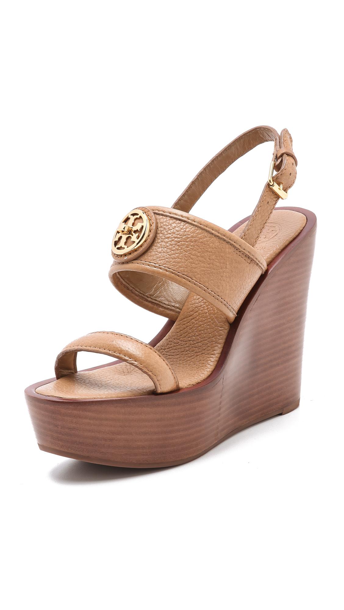 18b9a3c8f2c8eb Lyst - Tory Burch Selma Wedge Sandals in Brown