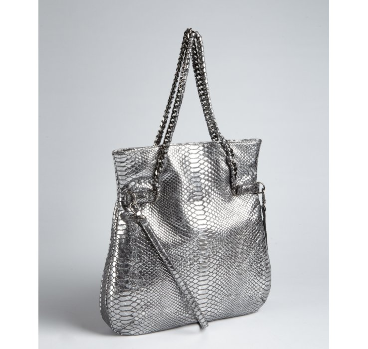 Treesje Silver Python Embossed Leather Moracy Foldover Shoulder ...