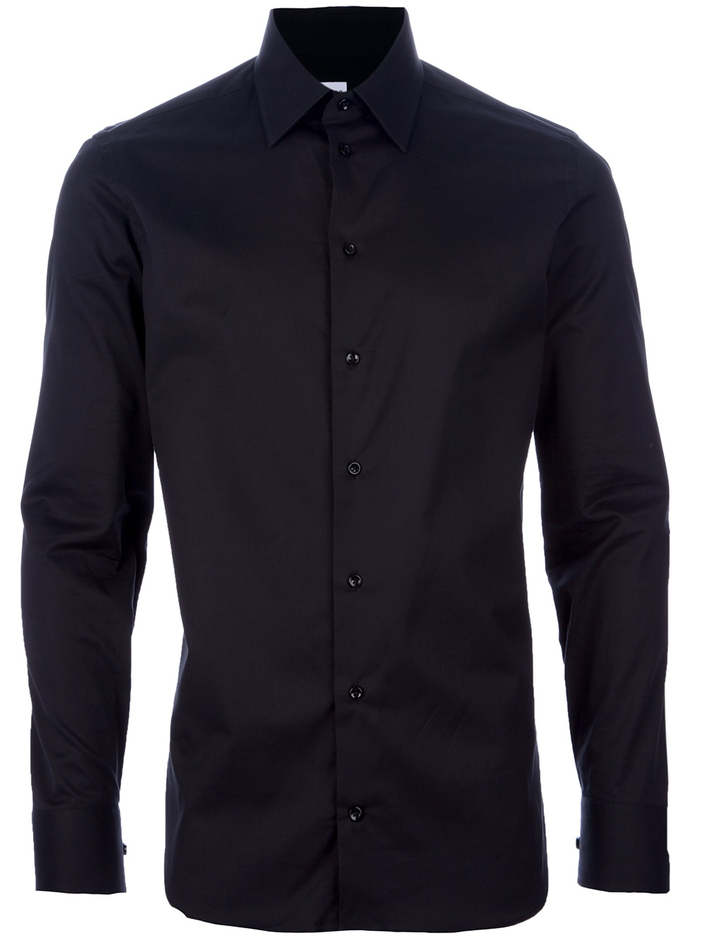 Armani button down shirt in black for men lyst for Mens black button down shirt