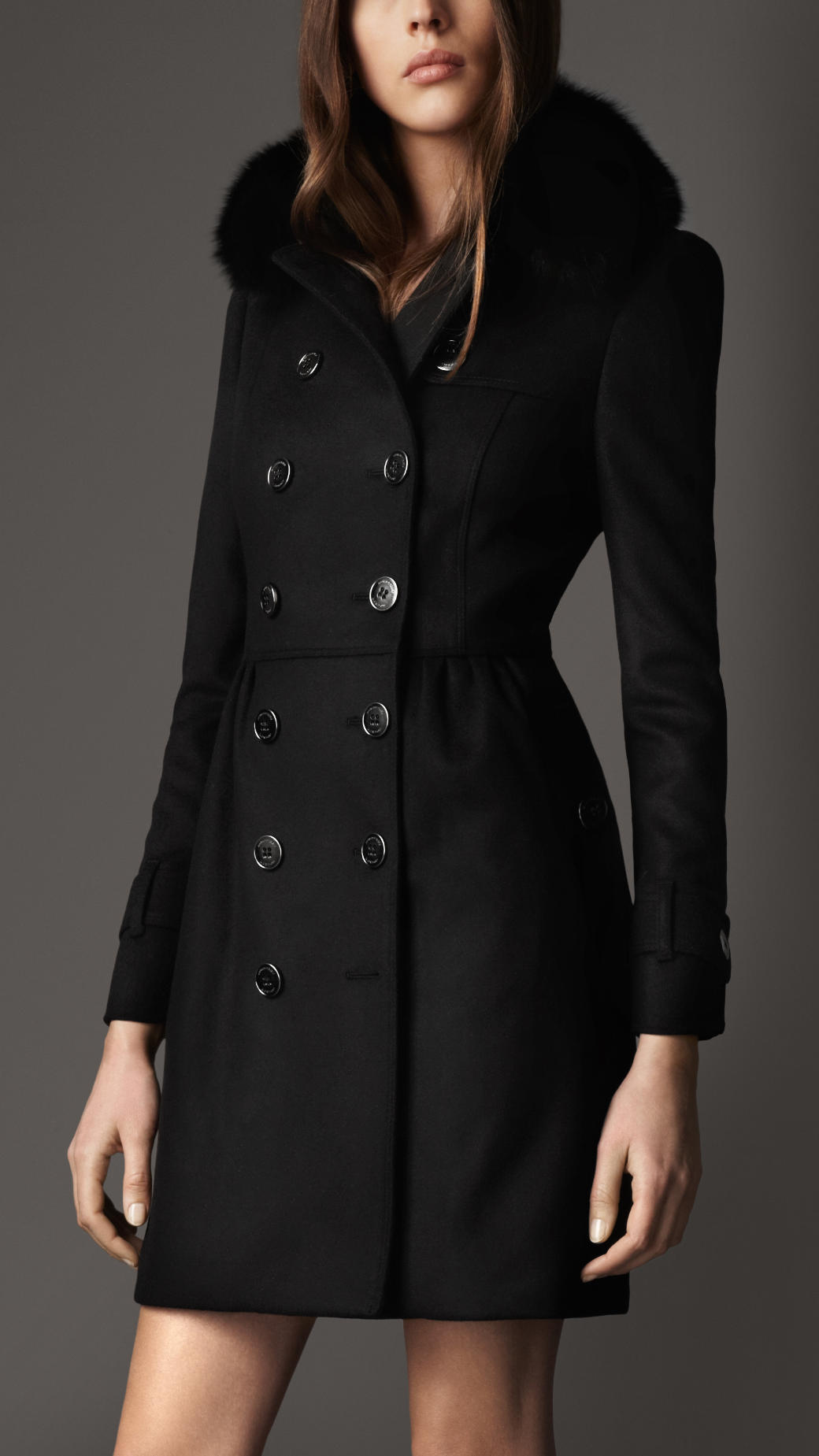 Burberry Long Fur Collar Trench Coat in Black | Lyst