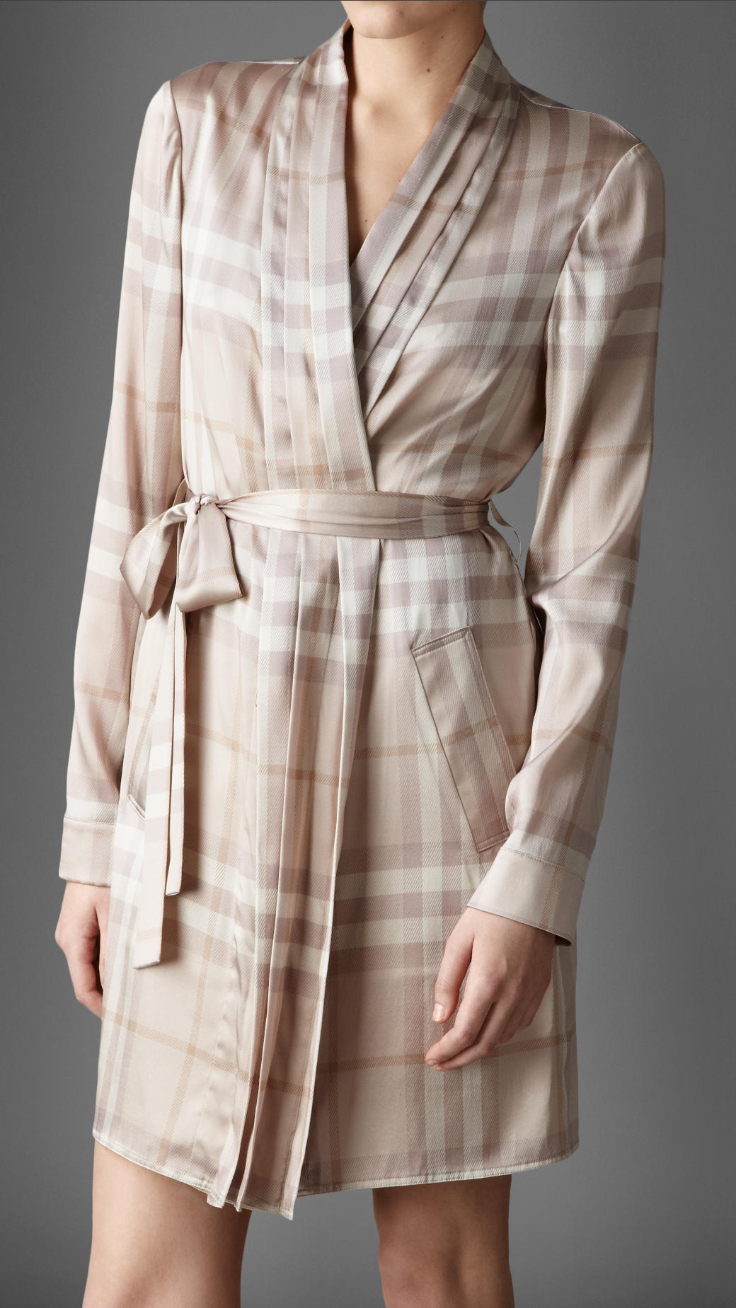 Lyst - Burberry Check Stretchsilk Dressing Gown in Natural