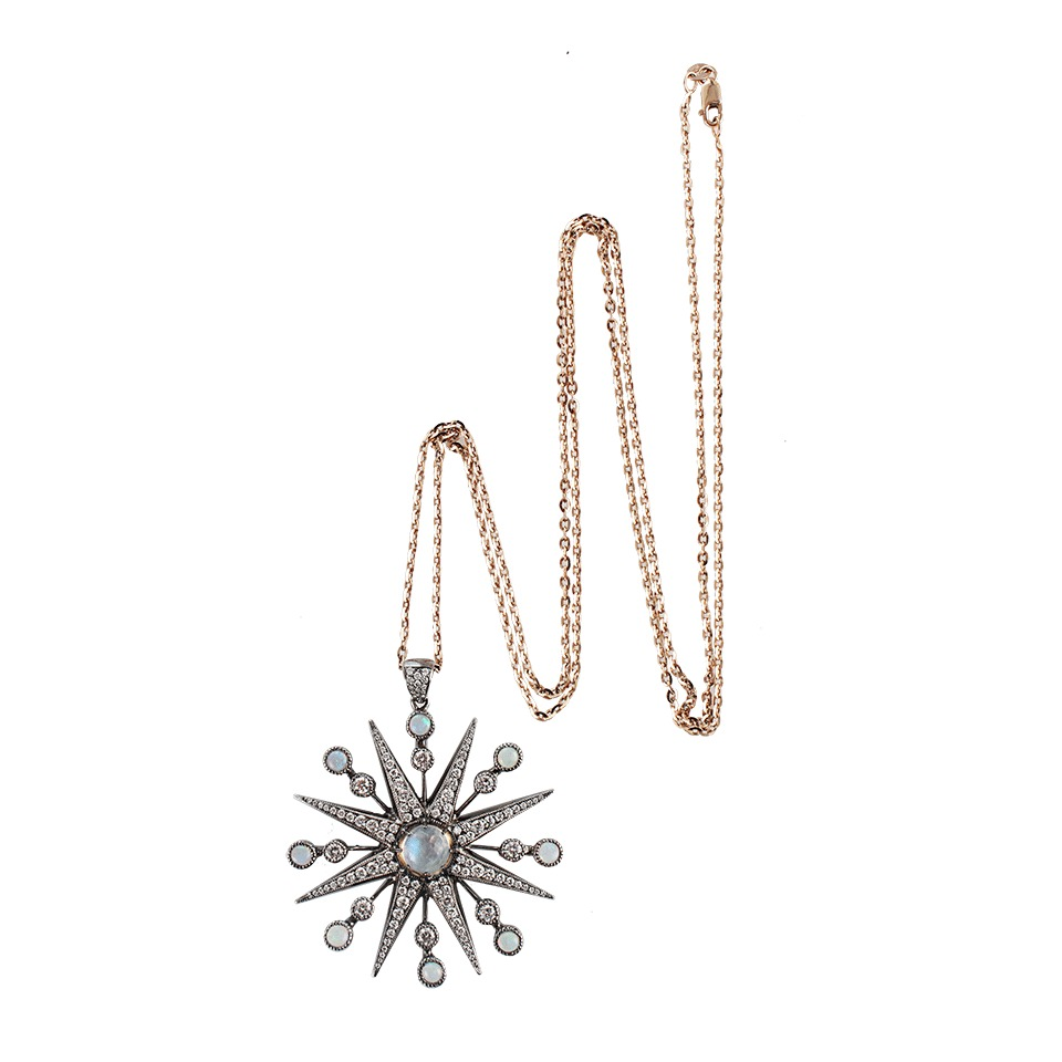Lyst colette diamond starburst pendant necklace in black gallery mozeypictures Images
