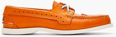Thom Browne Orange Leather Wingtip Deck Shoes in Orange for Men