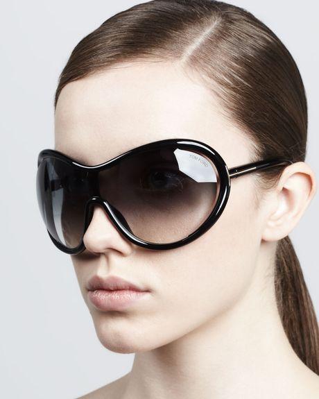 Tom Ford Grant Oversized Shield Sunglasses In Purple