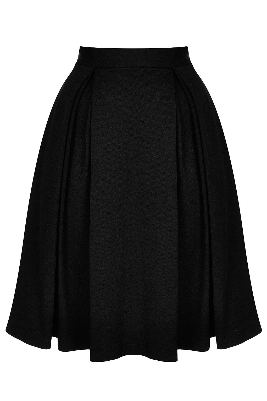 Topshop Knee Length Pleat Skirt in Black | Lyst