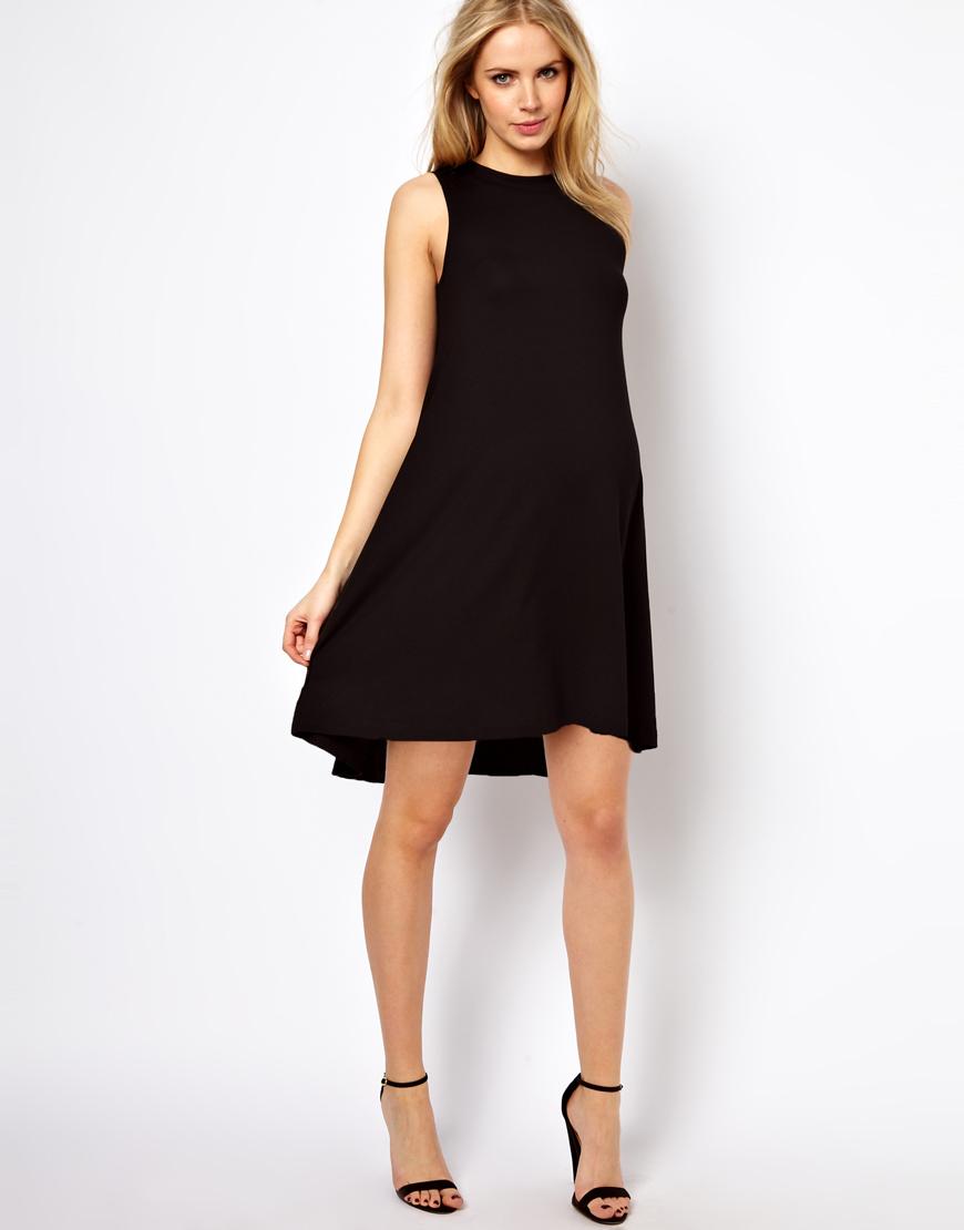 Asos Sleeveless Swing Dress in Black | Lyst