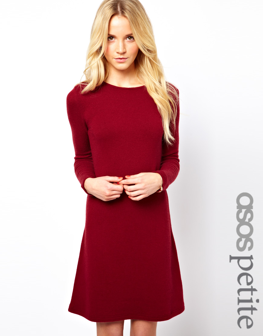Lyst Asos Knitted Swing Dress In Red
