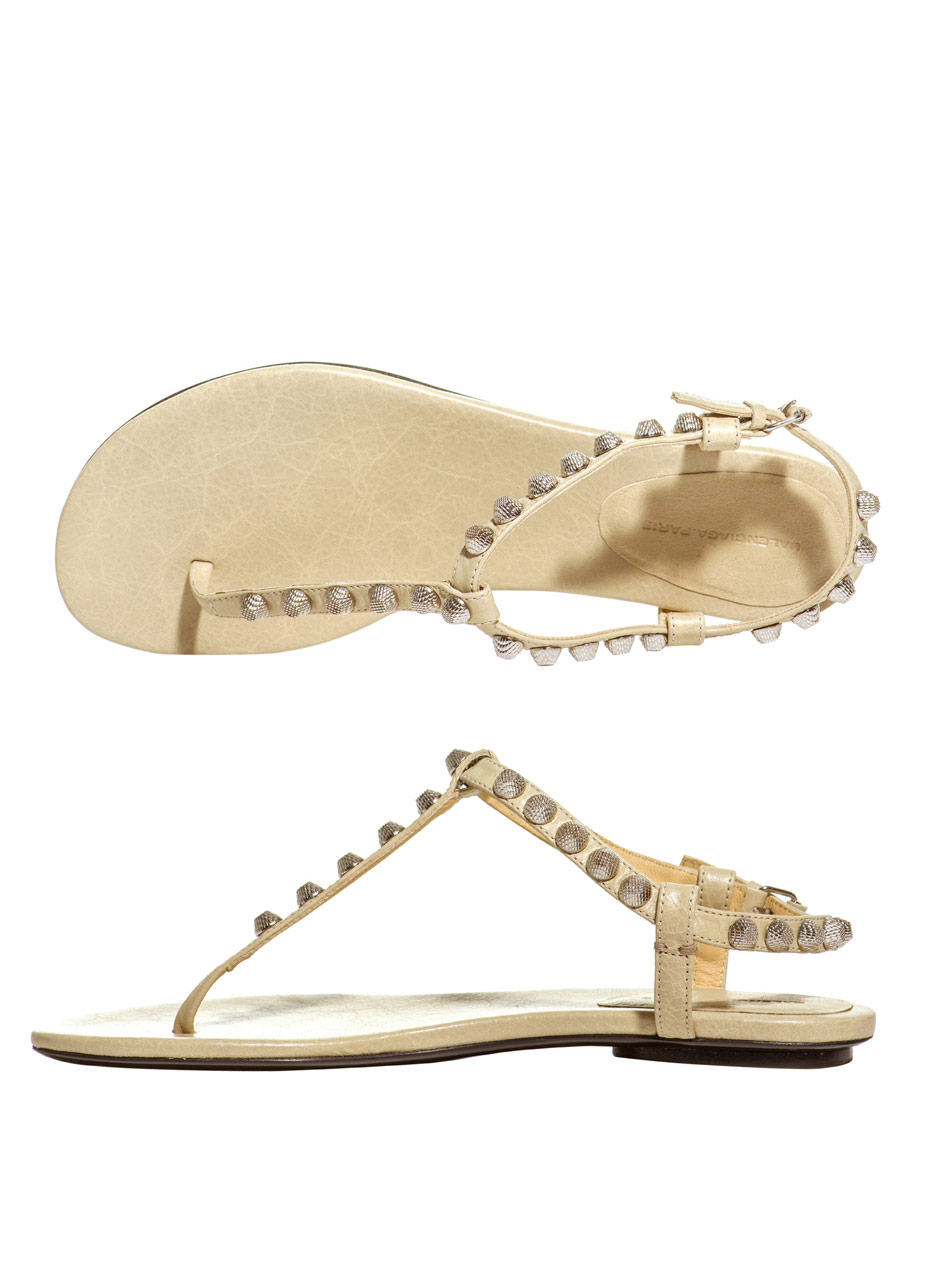 Lyst Balenciaga Arena Studded Flat Sandals In Natural