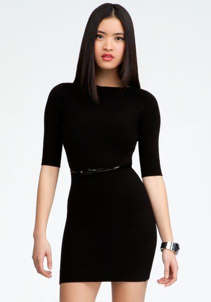 bebe belted sweater dress in black black black lyst