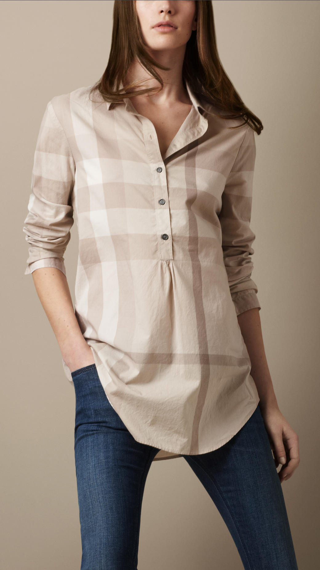 37f54cedae5 Burberry Brit Check Cotton Tunic in Natural - Lyst