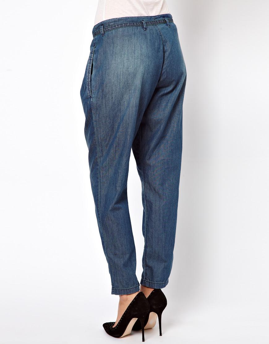 Lyst Denham Tie Waist Denim Jeans In Blue