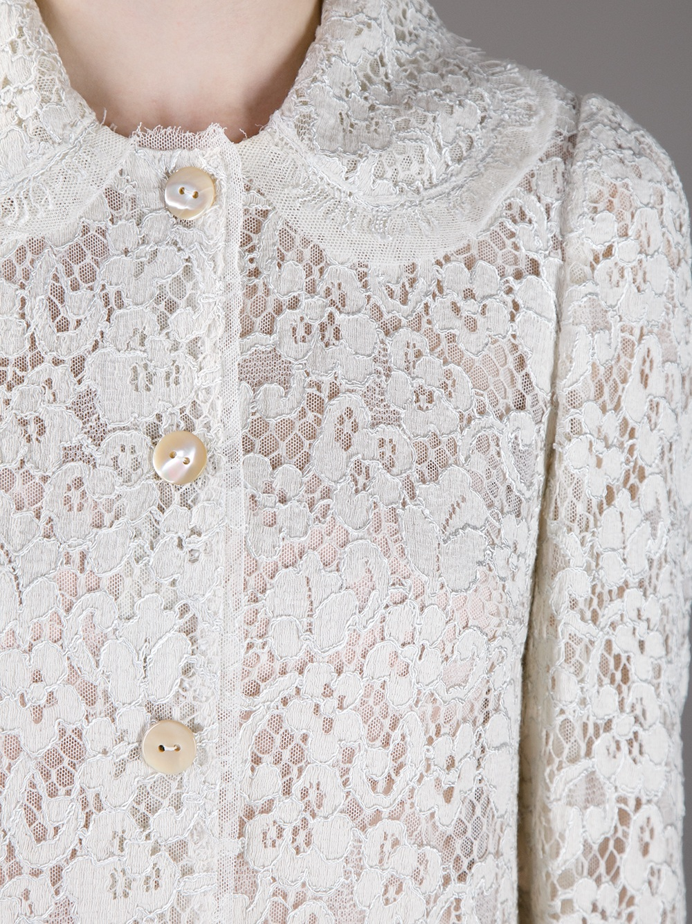 4c52aa82349 Dolce & Gabbana Lace Dress Coat in White - Lyst