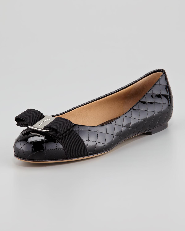 Ferragamo Isea Quilted Patent Leather Flat in Black (nero ...