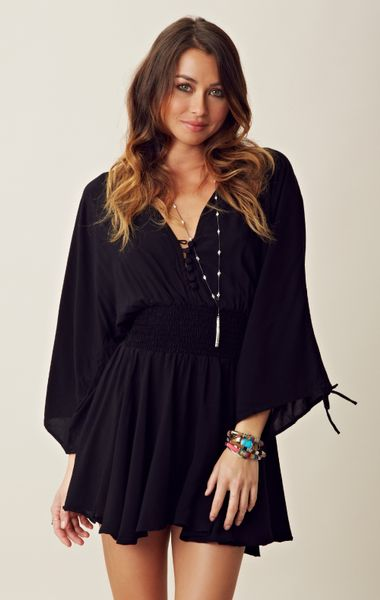 Indah Cinch Sleeve Mini Dress In Black Lyst