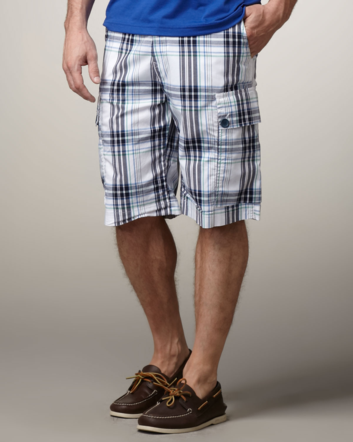 13eddefad6 Lacoste Plaid Cargo Shorts in White for Men - Lyst