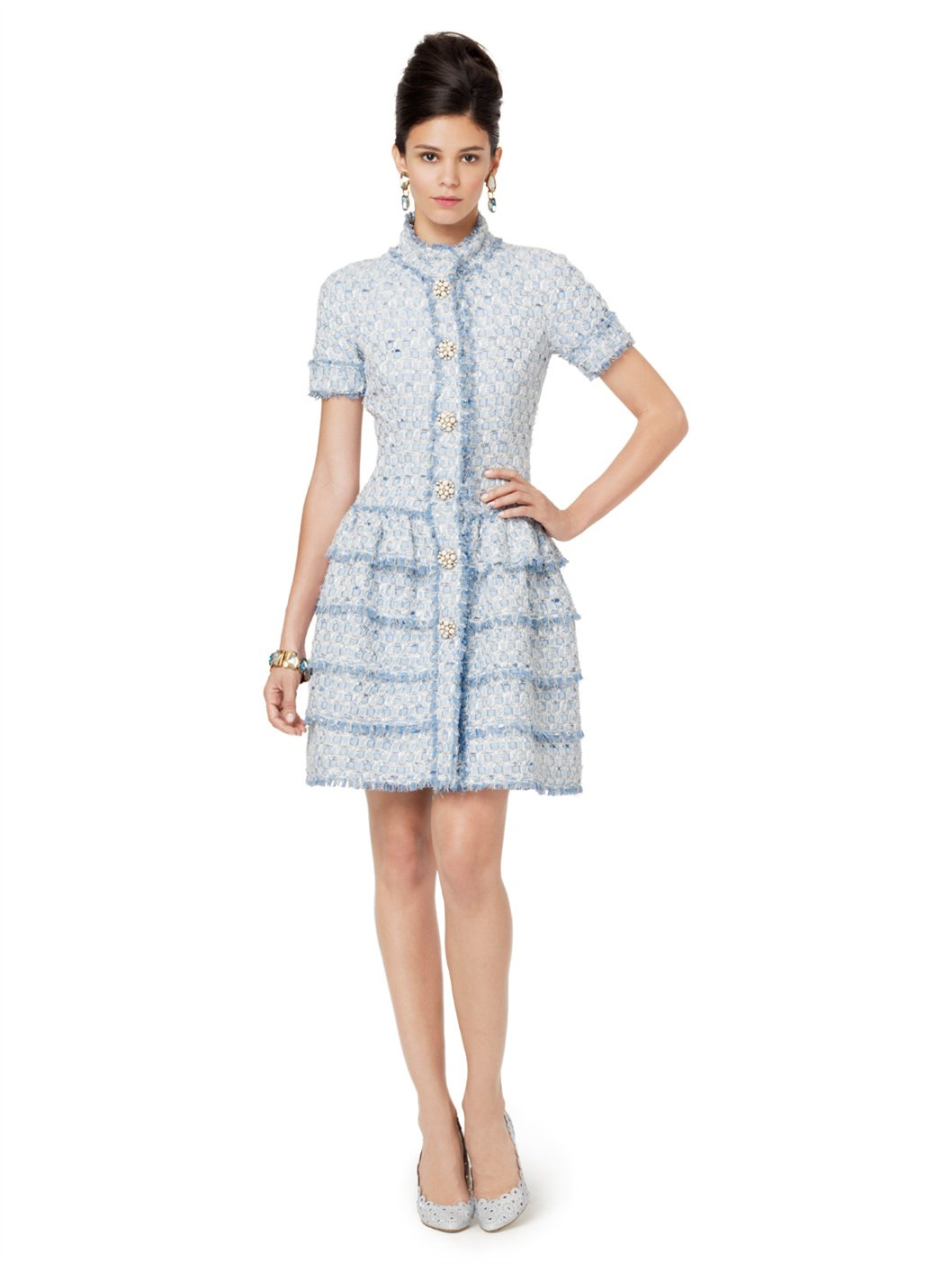 Lyst - Oscar De La Renta Short Sleeve Tweed Dress with ...