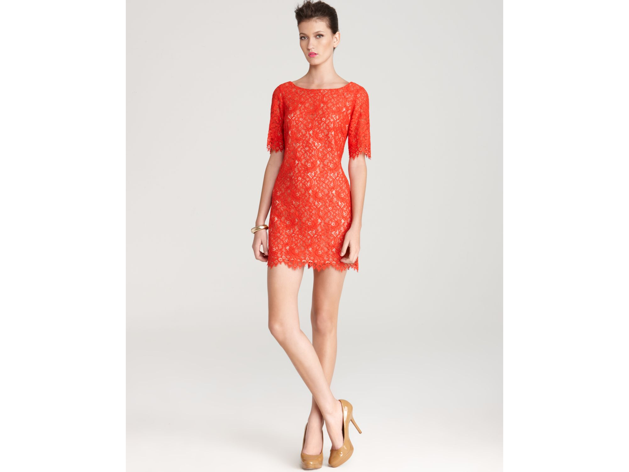 Shoshanna Shift Dress Lisa Lace in Red  Lyst