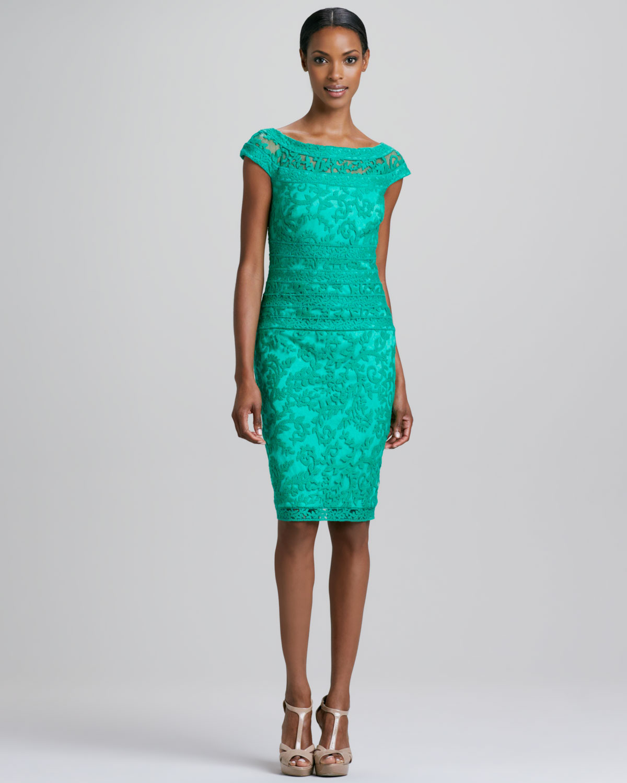 Tadashi shoji Capsleeve Lace-overlay Cocktail Dress in Green | Lyst