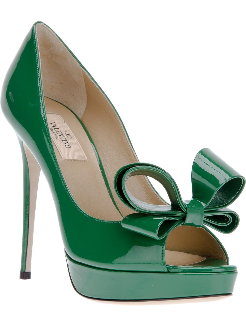 5260ede48750 Shoeniverse  VALENTINO Green Peep Toe Bow Pump