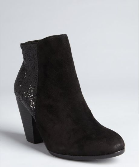 vince camuto black suede and glitter hariza ankle boots in
