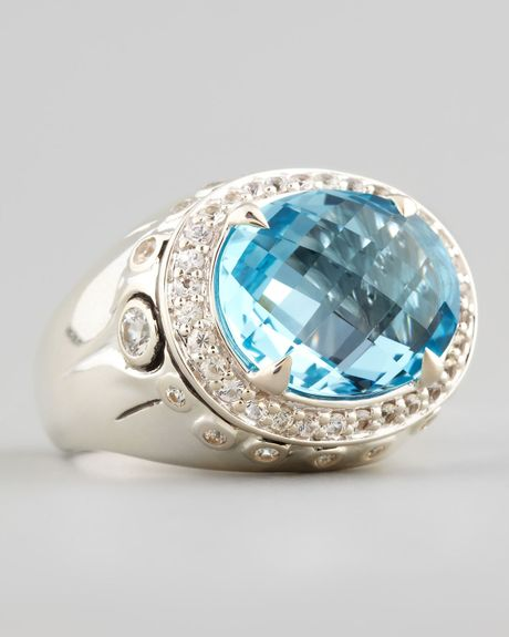 John Hardy Lava Small Blue Topaz Round Ring In Silver