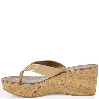 63c06e0c3ebf4f Sam Edelman Romy Patent Leather Cork Wedge Thong in Nude in Brown - Lyst