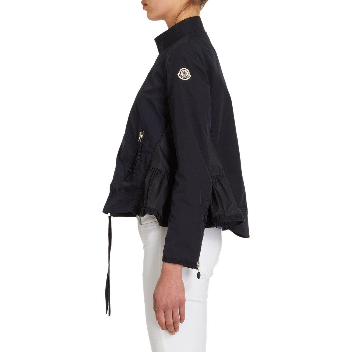 60647a15a28 ireland moncler betula down puffer jacket lyst moncler side ruffle zip  front moto jacket in blue