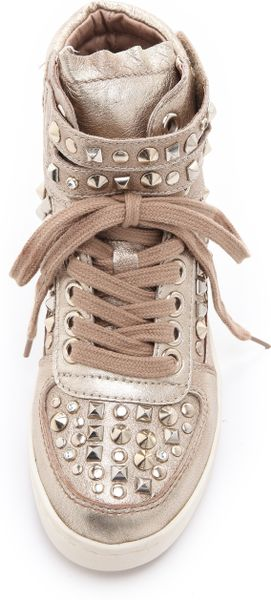Ash Paranoid Platform Studded Sneakers In Gold Lyst
