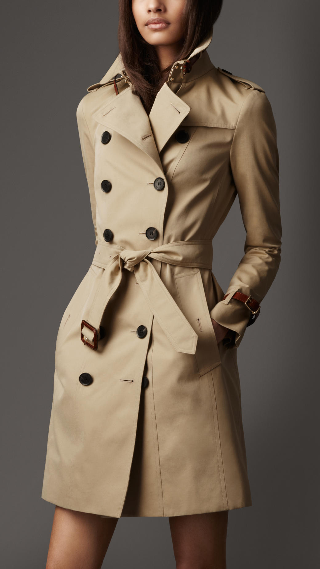 Lyst - Burberry Long Leather Detail Gabardine Trench Coat in Natural 00d3e162365