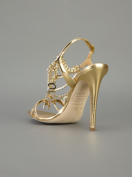 Dsquared2 Chain Strap Sandal In Gold Lyst