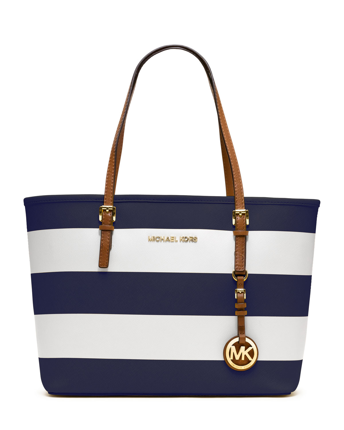 83750acc7270 ... france lyst michael kors small jet set striped travel tote in blue  3bf79 378eb