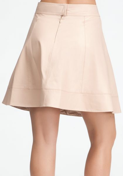 bebe leather circle skirt in beige dust lyst