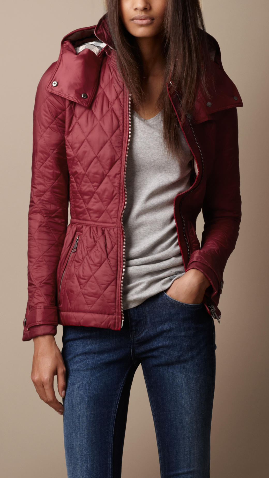 Lyst - Burberry brit Hooded Quilted Jacket in Red : short quilted jacket with hood - Adamdwight.com