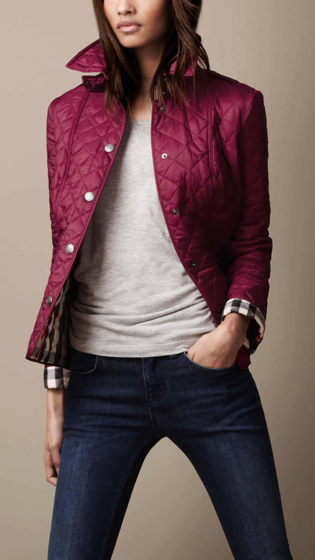 Burberry Diamond Quilted Jacket in Purple | Lyst : burberry purple quilted jacket - Adamdwight.com