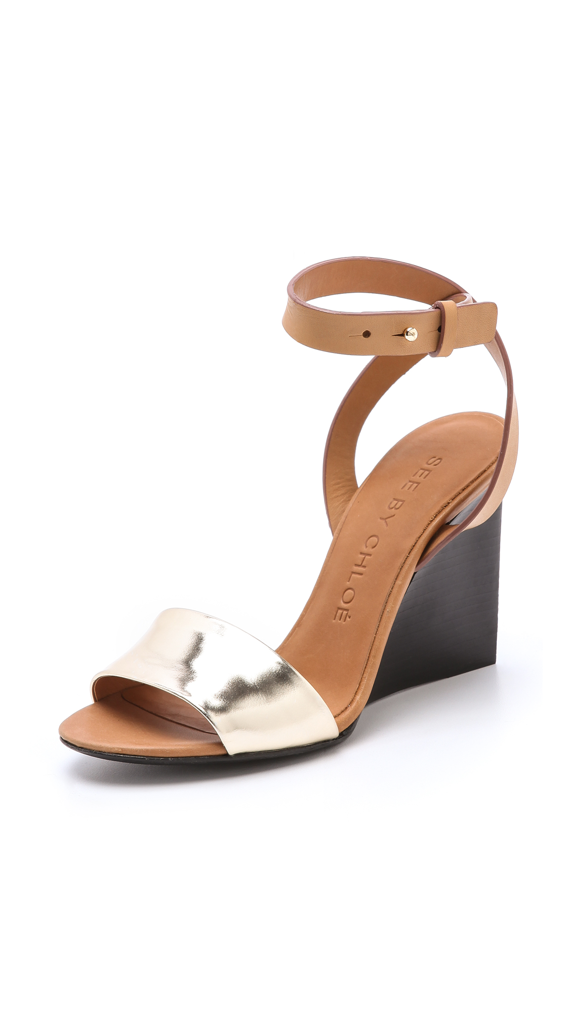 see by chlo metallic wedge sandals in gold lyst. Black Bedroom Furniture Sets. Home Design Ideas