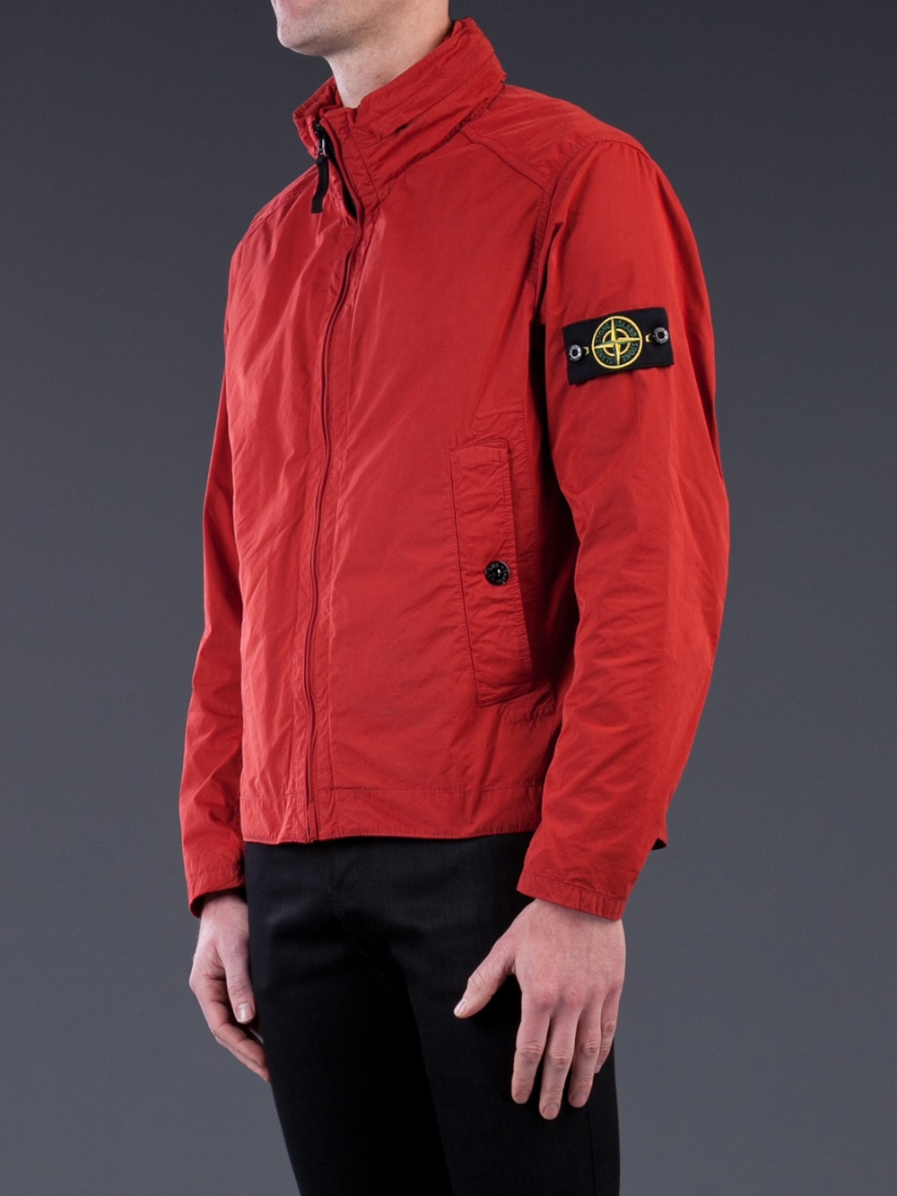 lyst stone island lightweight jacket in red for men. Black Bedroom Furniture Sets. Home Design Ideas