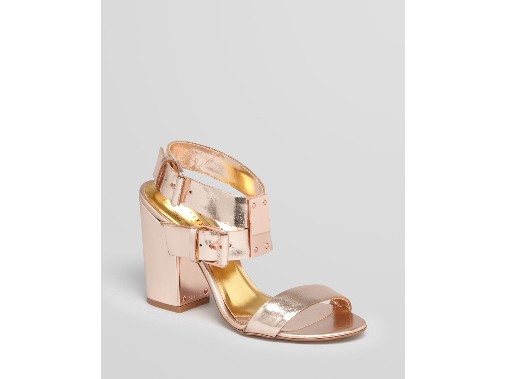 ted baker sandals lissome block high heel in pink lyst. Black Bedroom Furniture Sets. Home Design Ideas