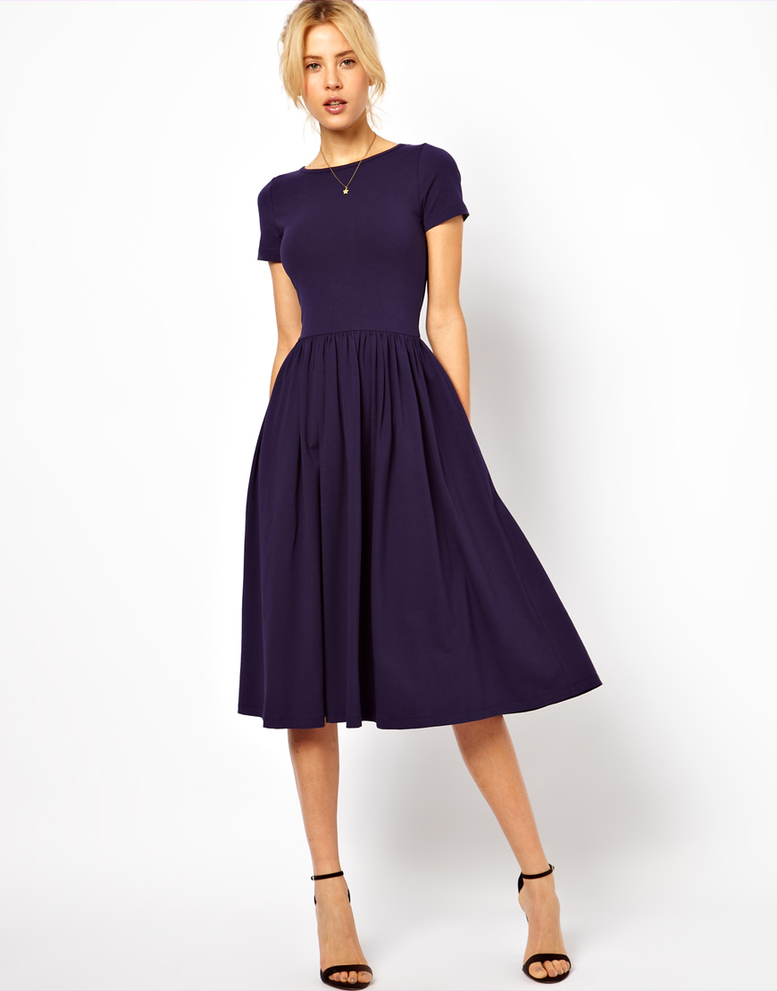 Lyst - Asos Midi Dress with Short Sleeves in Blue