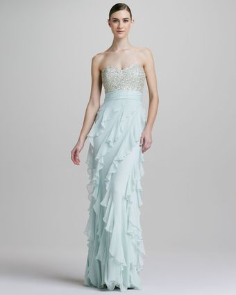 Badgley Mischka Strapless Sequined Bodice Rufflebottom Gown - Lyst