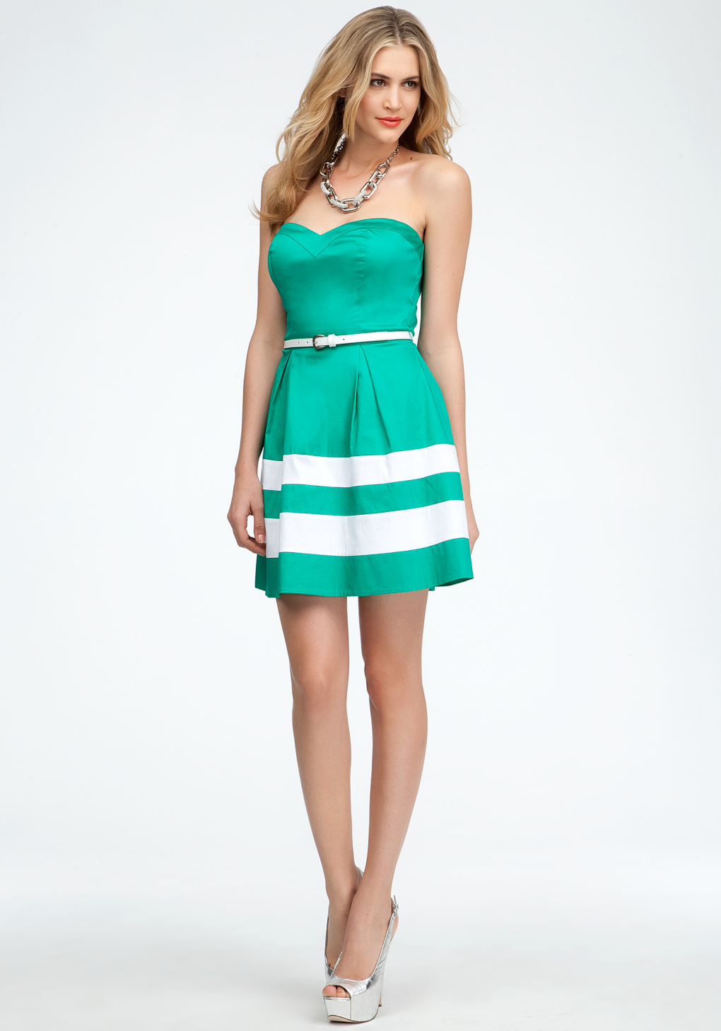 Lyst Bebe Strapless Colorblock Belted Dress Online