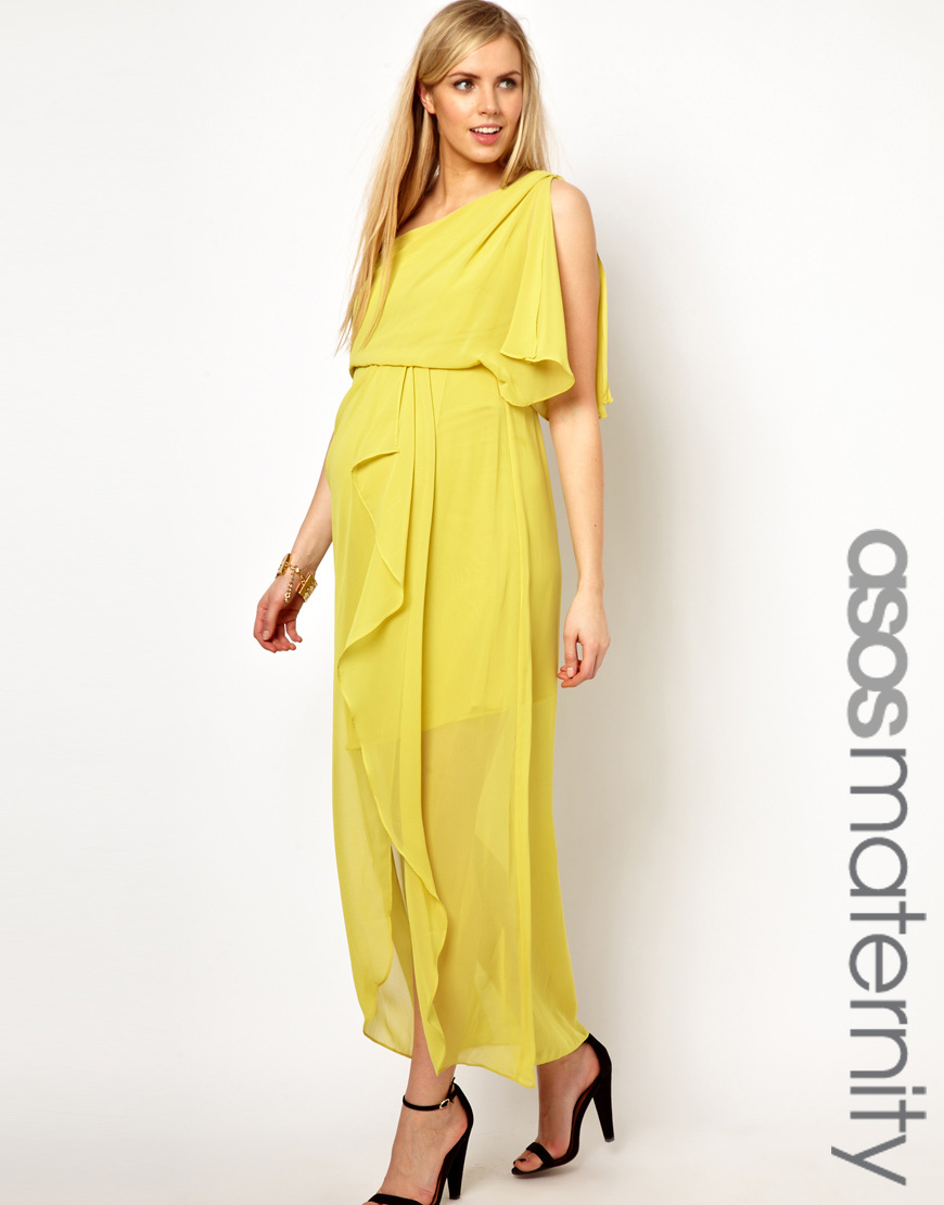 Asos maternity one shoulder drape maxi dress in yellow lyst gallery ombrellifo Image collections