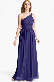 Donna Morgan Ruched One Shoulder Chiffon Gown - Lyst