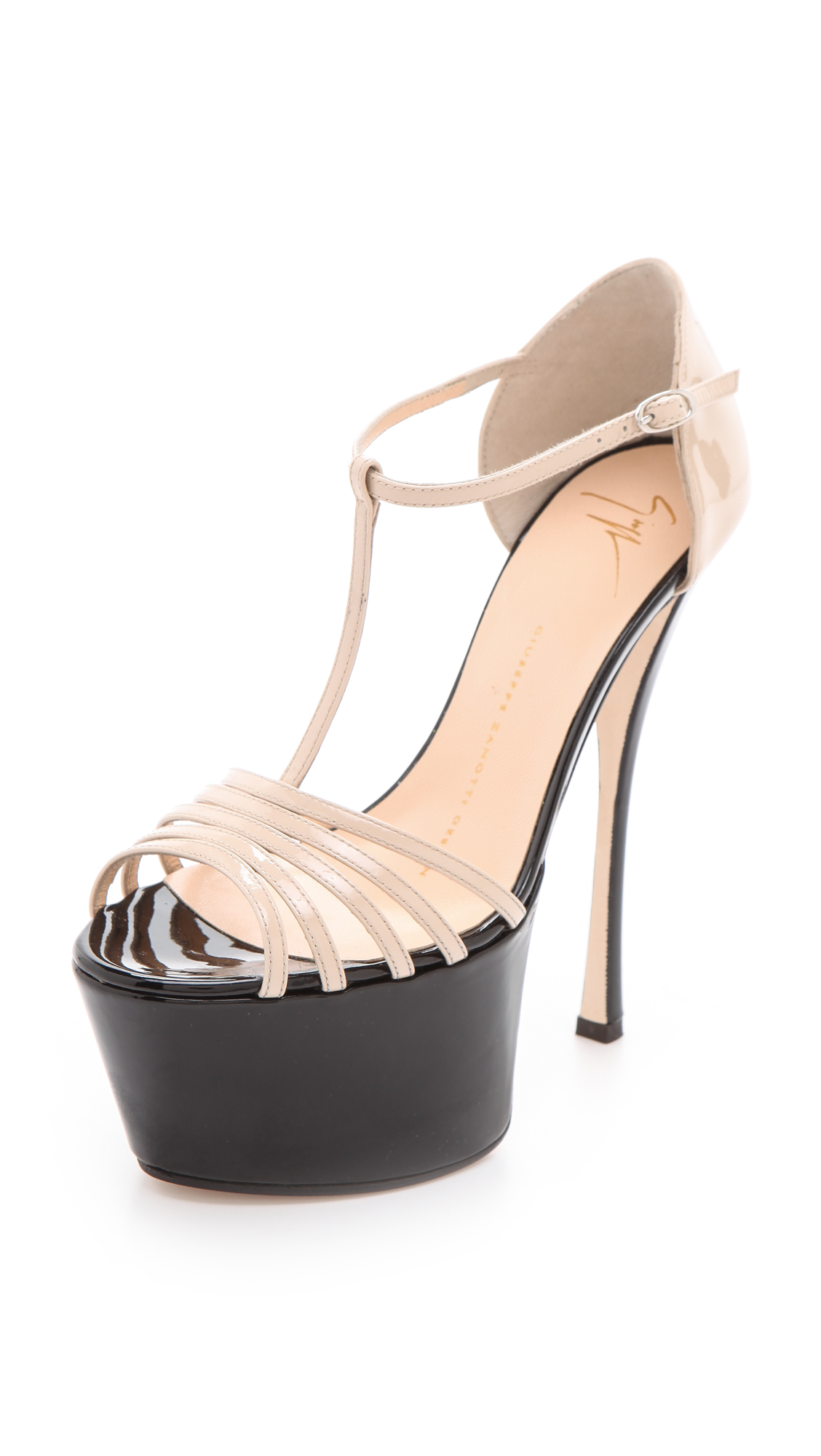 Giuseppe zanotti T Strap Platform Heels in Black   Lyst