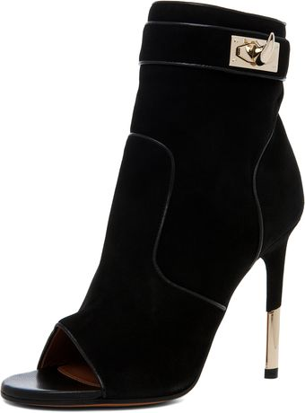 Givenchy Dunke Suede Nappa Shark Lock Bootie in Black - Lyst