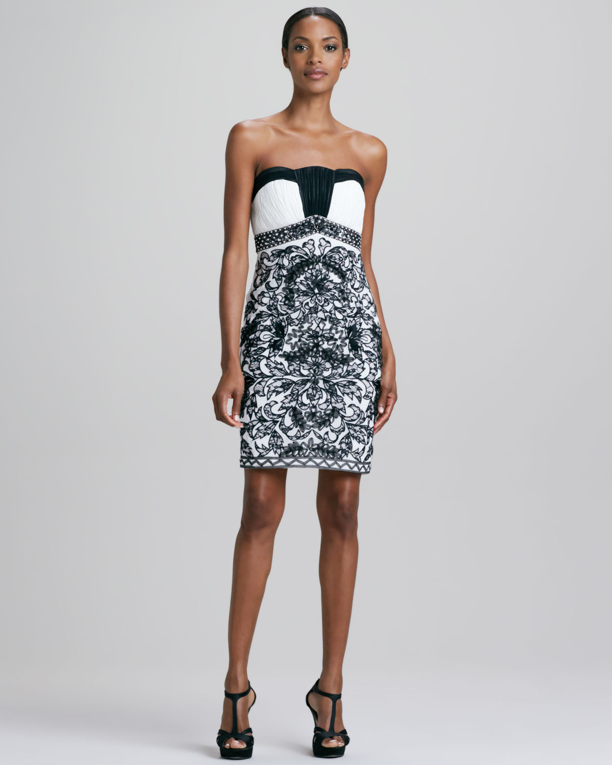 166393ad8ad Sue Wong Strapless Damask Pattern Cocktail Dress in Black - Lyst