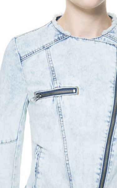 Zara Denim Biker Jacket In Blue Light Blue Lyst