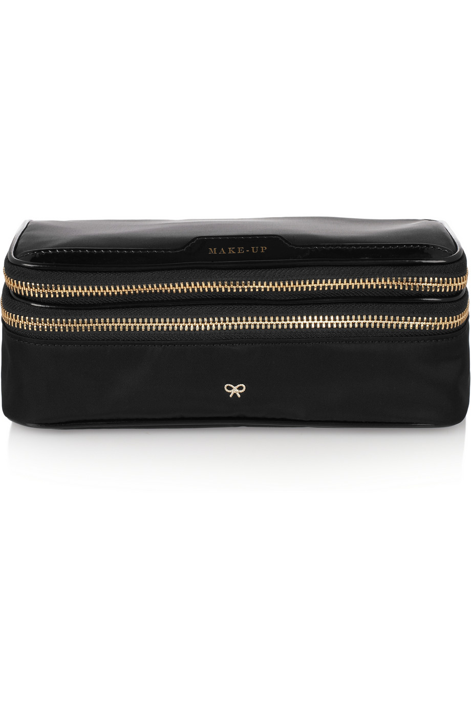 Lyst - Anya Hindmarch Make-up Ii Medium Patent Leather-trimmed ... 03a3625cbe8b5
