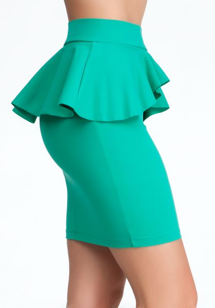 bebe peplum knit pencil skirt exclusive in green